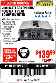 Harbor Freight Coupon 2000 WATT CONTINUOUS/4000 WATT PEAK POWER INVERTER Lot No. 63426/63429 Expired: 3/3/19 - $139.99