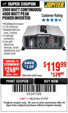 Harbor Freight Coupon 2000 WATT CONTINUOUS/4000 WATT PEAK POWER INVERTER Lot No. 63426/63429 Expired: 3/17/19 - $119.99