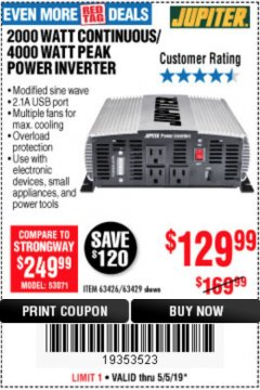 Harbor Freight Coupon 2000 WATT CONTINUOUS/4000 WATT PEAK POWER INVERTER Lot No. 63426/63429 Expired: 5/5/19 - $129.99