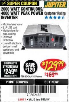 Harbor Freight Coupon 2000 WATT CONTINUOUS/4000 WATT PEAK POWER INVERTER Lot No. 63426/63429 Expired: 6/30/19 - $129.99
