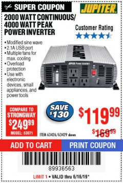 Harbor Freight Coupon 2000 WATT CONTINUOUS/4000 WATT PEAK POWER INVERTER Lot No. 63426/63429 Expired: 6/16/19 - $119.99