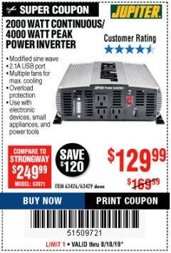 Harbor Freight Coupon 2000 WATT CONTINUOUS/4000 WATT PEAK POWER INVERTER Lot No. 63426/63429 Expired: 8/18/19 - $129.99