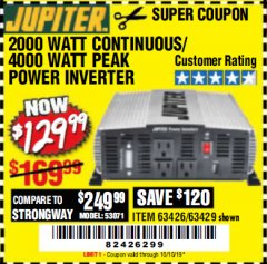 Harbor Freight Coupon 2000 WATT CONTINUOUS/4000 WATT PEAK POWER INVERTER Lot No. 63426/63429 Valid Thru: 10/10/19 - $129.99
