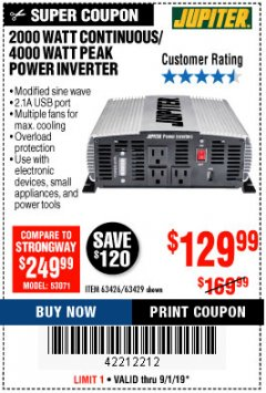 Harbor Freight Coupon 2000 WATT CONTINUOUS/4000 WATT PEAK POWER INVERTER Lot No. 63426/63429 Valid Thru: 9/1/19 - $129.99