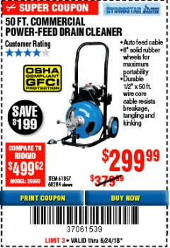 Harbor Freight Coupon 50 FT. COMMERCIAL POWER-FEED DRAIN CLEANER Lot No. 68284/61857 Expired: 6/24/18 - $299.99