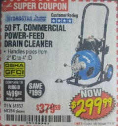 Harbor Freight Coupon 50 FT. COMMERCIAL POWER-FEED DRAIN CLEANER Lot No. 68284/61857 Expired: 7/31/18 - $299.99