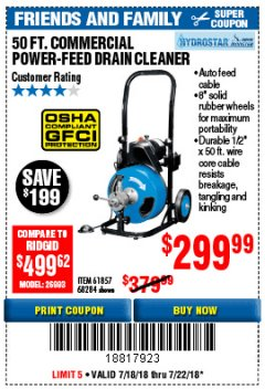 Harbor Freight Coupon 50 FT. COMMERCIAL POWER-FEED DRAIN CLEANER Lot No. 68284/61857 Expired: 7/22/18 - $299.99