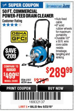 Harbor Freight Coupon 50 FT. COMMERCIAL POWER-FEED DRAIN CLEANER Lot No. 68284/61857 Expired: 9/23/18 - $289.99