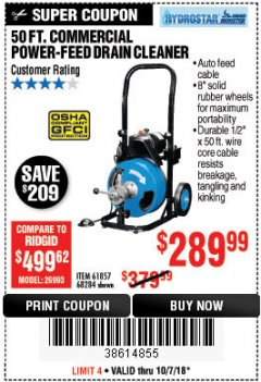 Harbor Freight Coupon 50 FT. COMMERCIAL POWER-FEED DRAIN CLEANER Lot No. 68284/61857 Expired: 10/7/18 - $289.99