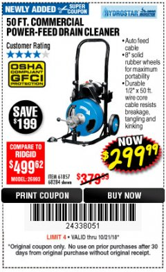 Harbor Freight Coupon 50 FT. COMMERCIAL POWER-FEED DRAIN CLEANER Lot No. 68284/61857 Expired: 10/21/18 - $299.99