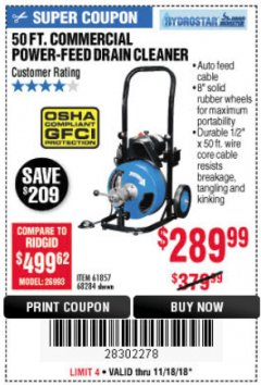 Harbor Freight Coupon 50 FT. COMMERCIAL POWER-FEED DRAIN CLEANER Lot No. 68284/61857 Expired: 11/18/18 - $289.99