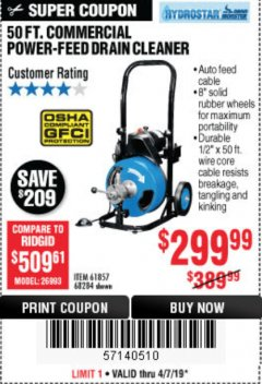 Harbor Freight Coupon 50 FT. COMMERCIAL POWER-FEED DRAIN CLEANER Lot No. 68284/61857 Expired: 4/7/19 - $299.99