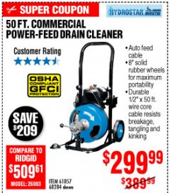 Harbor Freight Coupon 50 FT. COMMERCIAL POWER-FEED DRAIN CLEANER Lot No. 68284/61857 Expired: 10/4/19 - $6.99