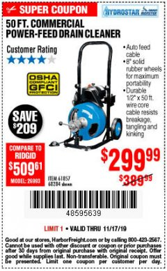 Harbor Freight Coupon 50 FT. COMMERCIAL POWER-FEED DRAIN CLEANER Lot No. 68284/61857 Expired: 11/17/19 - $299.99