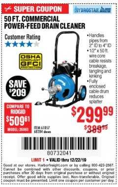 Harbor Freight Coupon 50 FT. COMMERCIAL POWER-FEED DRAIN CLEANER Lot No. 68284/61857 Expired: 12/22/19 - $299.99