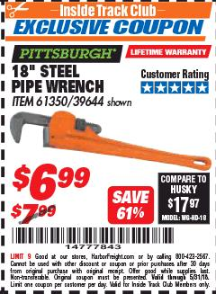 "Harbor Freight ITC Coupon 18"" STEEL PIPE WRENCH Lot No. 39644/61350 Expired: 5/31/18 - $6.99"