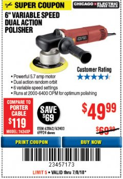 "Harbor Freight Coupon 6"" VARIABLE SPEED DUAL ACTION POLISHER Lot No. 69924/62403/62862 Expired: 7/8/18 - $49.99"