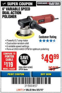 "Harbor Freight Coupon 6"" VARIABLE SPEED DUAL ACTION POLISHER Lot No. 69924/62403/62862 Expired: 8/5/18 - $49.99"