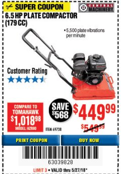 Harbor Freight Coupon 6.5 HP PLATE COMPACTOR (179 CC) Lot No. 66571/69738 Expired: 5/27/18 - $449.99