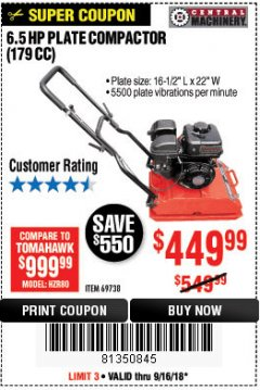 Harbor Freight Coupon 6.5 HP PLATE COMPACTOR (179 CC) Lot No. 66571/69738 Expired: 9/16/18 - $449.99