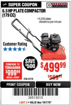 Harbor Freight Coupon 6.5 HP PLATE COMPACTOR (179 CC) Lot No. 66571/69738 Expired: 10/7/18 - $499.99