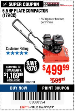 Harbor Freight Coupon 6.5 HP PLATE COMPACTOR (179 CC) Lot No. 66571/69738 Expired: 9/15/19 - $499.99