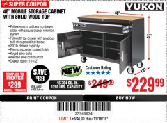 "Harbor Freight Coupon YUKON 46"", 9 DRAWER ROLLER CABINET WITH SOLID WOOD TOP Lot No. 63751/63532 Expired: 11/18/18 - $229.99"