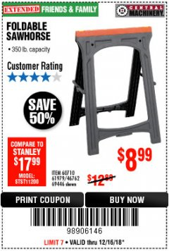 Harbor Freight Coupon FOLDABLE SAWHORSE Lot No. 60710/61979 Expired: 12/16/18 - $8.99