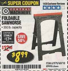 Harbor Freight Coupon FOLDABLE SAWHORSE Lot No. 60710/61979 Expired: 4/30/19 - $8.99
