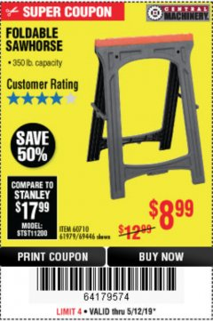 Harbor Freight Coupon FOLDABLE SAWHORSE Lot No. 60710/61979 Expired: 5/12/19 - $8.99