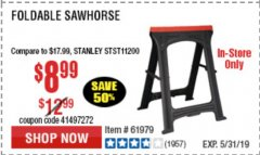 Harbor Freight Coupon FOLDABLE SAWHORSE Lot No. 60710/61979 Expired: 5/31/19 - $8.99