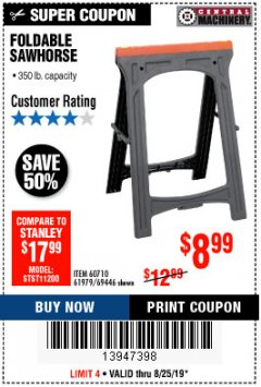 Harbor Freight Coupon FOLDABLE SAWHORSE Lot No. 60710/61979 Expired: 8/25/19 - $8.99
