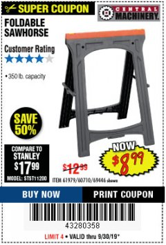 Harbor Freight Coupon FOLDABLE SAWHORSE Lot No. 60710/61979 Expired: 9/30/19 - $8.99