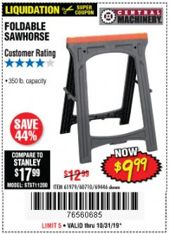 Harbor Freight Coupon FOLDABLE SAWHORSE Lot No. 60710/61979 Expired: 10/31/19 - $9.99