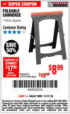 Harbor Freight Coupon FOLDABLE SAWHORSE Lot No. 60710/61979 Expired: 11/17/19 - $8.99