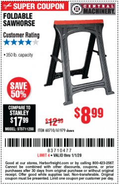 Harbor Freight Coupon FOLDABLE SAWHORSE Lot No. 60710/61979 Expired: 1/1/20 - $8.99