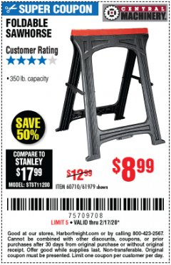 Harbor Freight Coupon FOLDABLE SAWHORSE Lot No. 60710/61979 Expired: 2/17/20 - $8.99