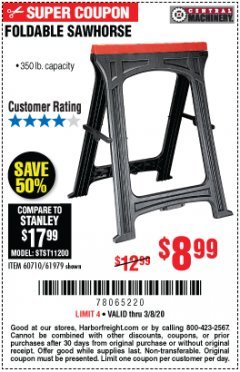Harbor Freight Coupon FOLDABLE SAWHORSE Lot No. 60710/61979 Expired: 3/8/20 - $8.99