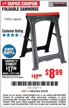 Harbor Freight Coupon FOLDABLE SAWHORSE Lot No. 60710/61979 Expired: 3/22/20 - $8.99