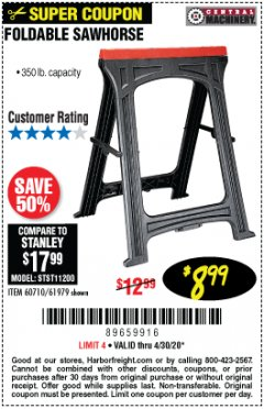 Harbor Freight Coupon FOLDABLE SAWHORSE Lot No. 60710/61979 Expired: 6/30/20 - $8.99
