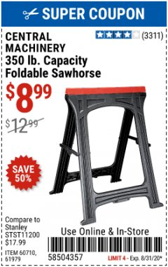 Harbor Freight Coupon FOLDABLE SAWHORSE Lot No. 60710/61979 Expired: 8/31/20 - $8.99