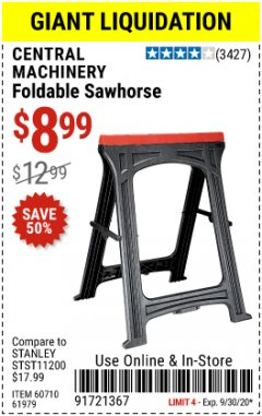 Harbor Freight Coupon FOLDABLE SAWHORSE Lot No. 60710/61979 Expired: 9/30/20 - $8.99