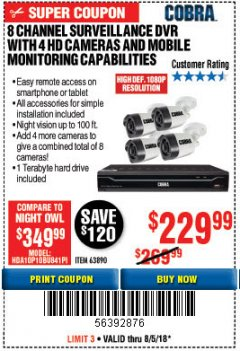 Harbor Freight Coupon 8 CHANNEL SURVEILLANCE DVR WITH 4 HD CAMERAS AND MOBILE MONITORING CAPABILITIES Lot No. 63890 Expired: 8/5/18 - $229.99