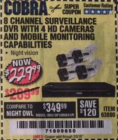 Harbor Freight Coupon 8 CHANNEL SURVEILLANCE DVR WITH 4 HD CAMERAS AND MOBILE MONITORING CAPABILITIES Lot No. 63890 Expired: 2/5/19 - $229.99
