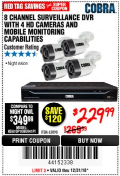 Harbor Freight Coupon 8 CHANNEL SURVEILLANCE DVR WITH 4 HD CAMERAS AND MOBILE MONITORING CAPABILITIES Lot No. 63890 Expired: 12/31/18 - $229.99