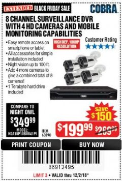 Harbor Freight Coupon 8 CHANNEL SURVEILLANCE DVR WITH 4 HD CAMERAS AND MOBILE MONITORING CAPABILITIES Lot No. 63890 Expired: 12/2/18 - $199.99