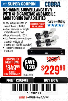 Harbor Freight Coupon 8 CHANNEL SURVEILLANCE DVR WITH 4 HD CAMERAS AND MOBILE MONITORING CAPABILITIES Lot No. 63890 Expired: 3/3/19 - $229.99