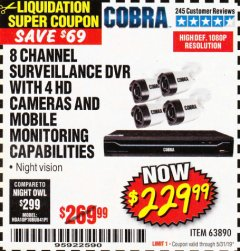 Harbor Freight Coupon 8 CHANNEL SURVEILLANCE DVR WITH 4 HD CAMERAS AND MOBILE MONITORING CAPABILITIES Lot No. 63890 EXPIRES: 5/31/19 - $229.99