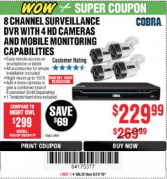 Harbor Freight Coupon 8 CHANNEL SURVEILLANCE DVR WITH 4 HD CAMERAS AND MOBILE MONITORING CAPABILITIES Lot No. 63890 Expired: 4/21/19 - $229.99