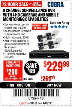 Harbor Freight Coupon 8 CHANNEL SURVEILLANCE DVR WITH 4 HD CAMERAS AND MOBILE MONITORING CAPABILITIES Lot No. 63890 Expired: 4/28/19 - $229.99